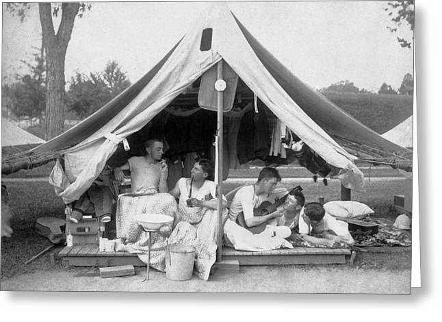 Young Men On A Camp Out Greeting Card