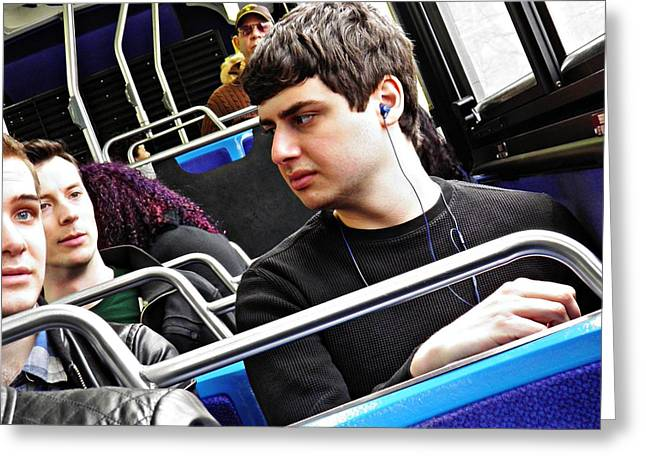Young Men On The M4 Bus Greeting Card by Sarah Loft