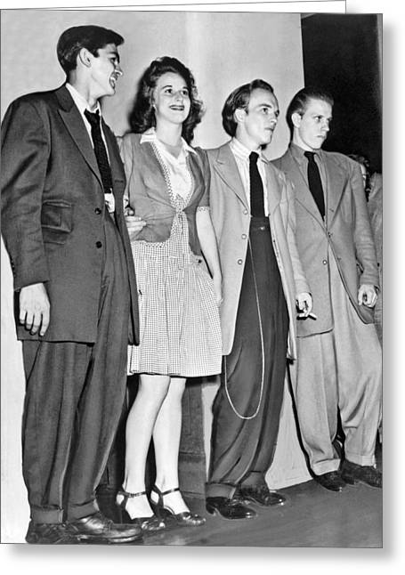Young Men Wearing Zoot Suits Greeting Card by Underwood Archives