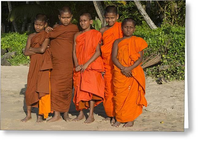 Sri lankan culture greeting cards fine art america young monks matara beach sri lanka greeting card m4hsunfo