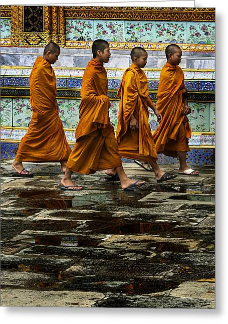 Greeting Card featuring the photograph Young Monks by Rob Tullis