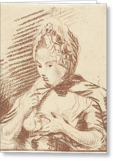 Young Mother Feeding Her Child With Bottle Greeting Card