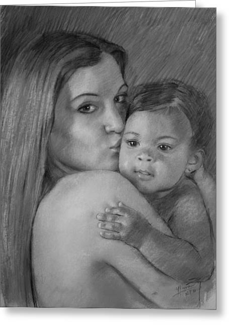 Greeting Card featuring the drawing Young Mother With Her Baby by Viola El