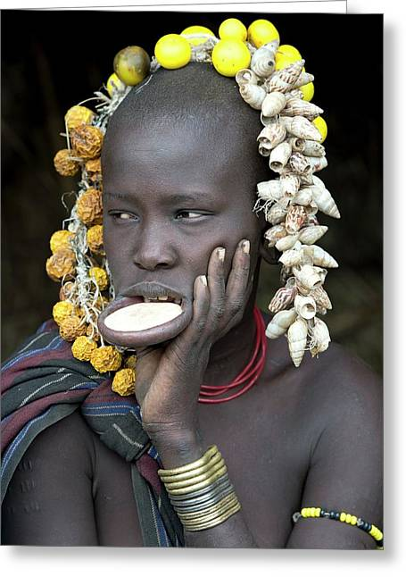 Young Mursi Girl With Lip Plate Inserted Greeting Card by Tony Camacho