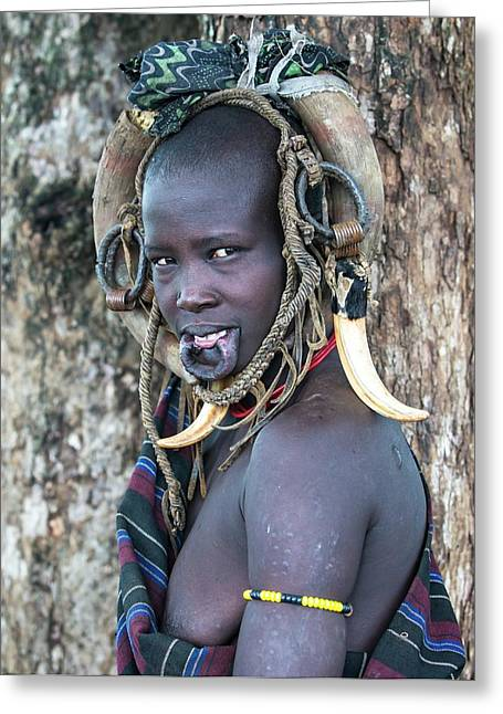Young Mursi Girl Without Lip Plate Greeting Card by Peter J. Raymond