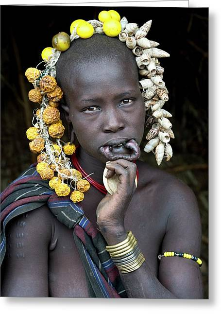 Young Mursi Girl Without Lip Plate Greeting Card by Tony Camacho
