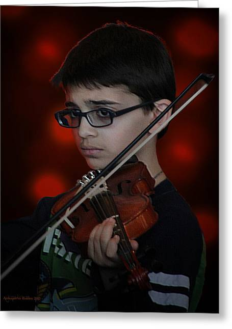 Young Musician Impression # 3 Greeting Card