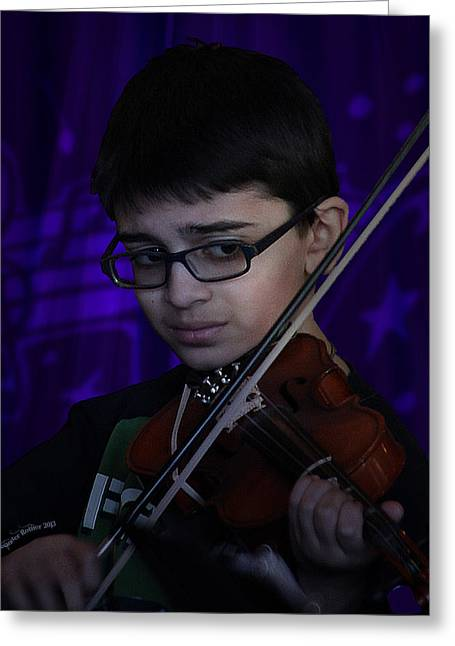 Young Musician Impression # 5 Greeting Card