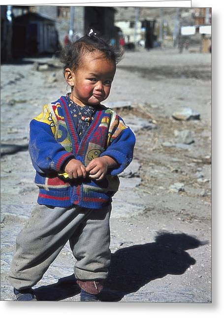 Young Nepalese Girl In Manang Greeting Card by Richard Berry