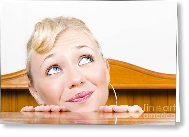 Young Optimistic Caucasian Woman Stares Upwards From Behind A C Greeting Card by Jorgo Photography - Wall Art Gallery