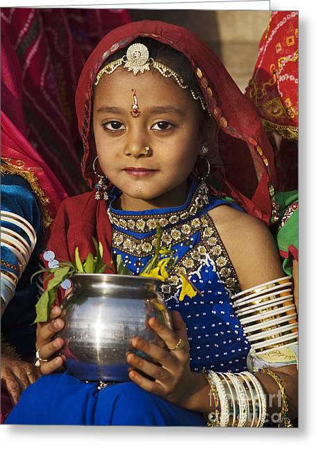Young Rajathani At Mewar Festival - Udaipur India Greeting Card by Craig Lovell