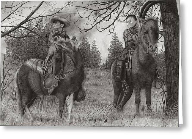 Young Rough Riders Greeting Card