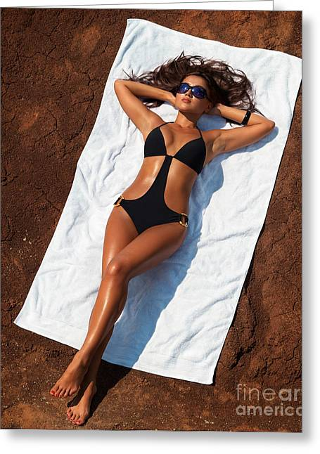 Young Sexy Woman In Swimsuit Sunbathing Greeting Card