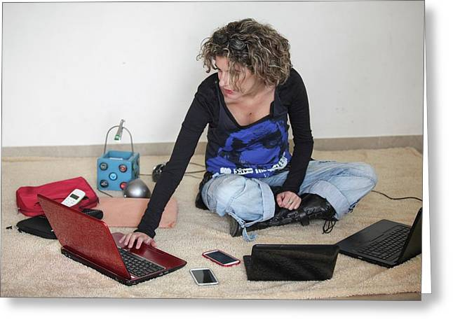 Young Stylish Woman Works From Home Greeting Card