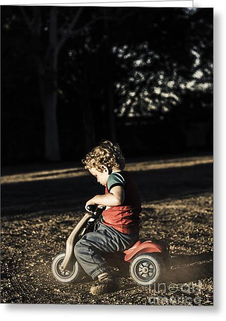 Young Three Year Old Child Riding On Toy Bicycle Greeting Card