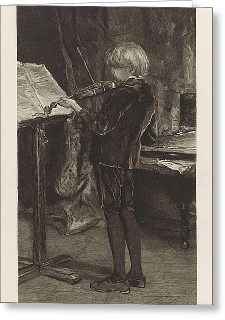 Young Violin Player, Willem Steelink Greeting Card by Willem Steelink (i)