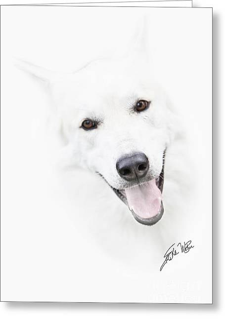 Greeting Card featuring the digital art Young Wolf by Erika Weber