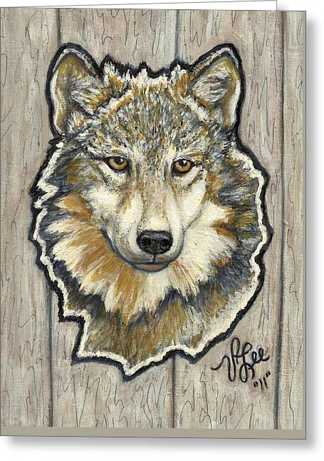Greeting Card featuring the painting Young Wolf by VLee Watson