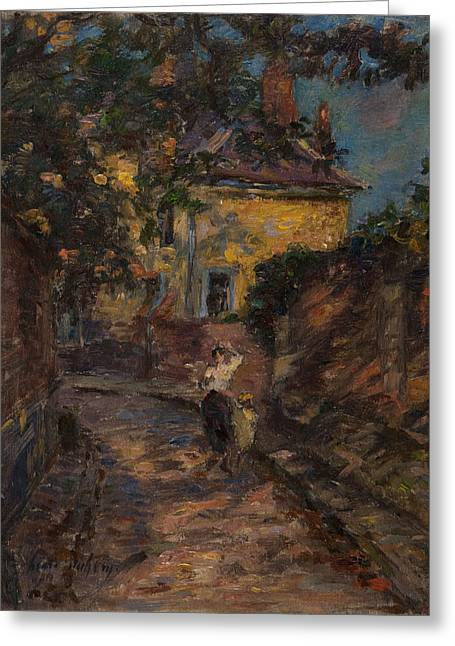 Young Woman And Child In An Alley  Greeting Card by Henri Duhem