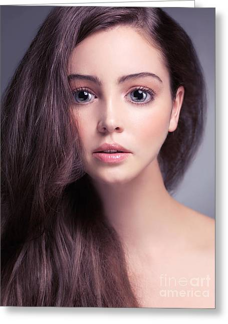 Young Woman Anime Style Beauty Portrait With Beautiful Large Gra Greeting Card by Oleksiy Maksymenko