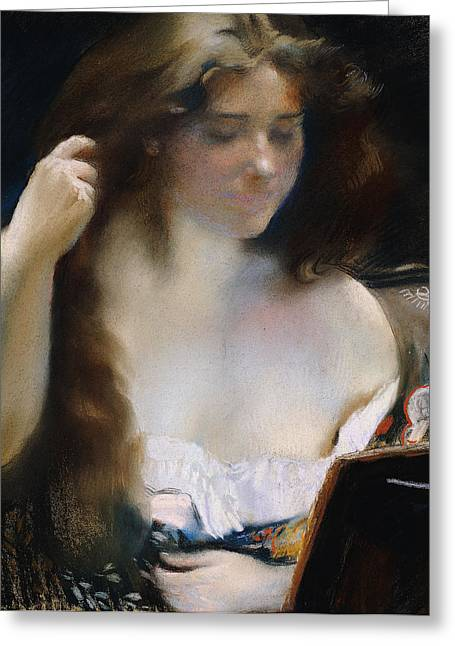 Young Woman At Her Toilet Greeting Card by Paul Albert Besnard