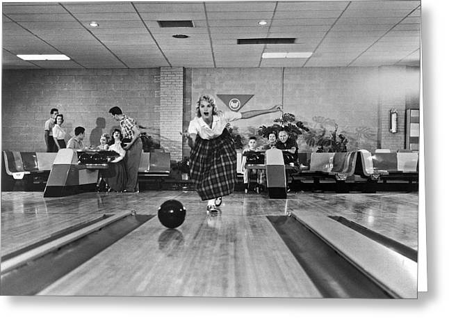 Young Woman Bowling Greeting Card