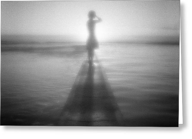 Young Woman By Pool At Sunrise Greeting Card by Colin and Linda McKie