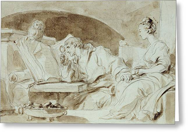 Young Woman Consulting A Necromancer Greeting Card by Jean-Honore Fragonard