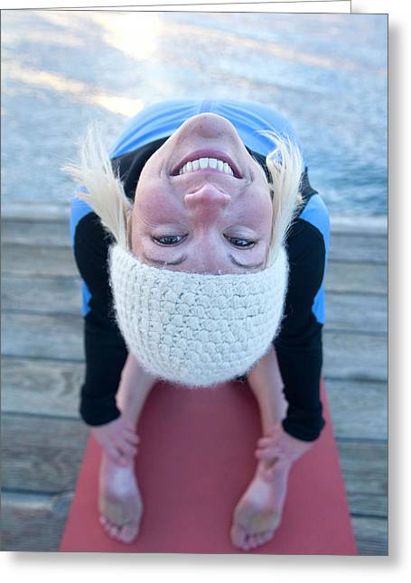 Young Woman Doing Yoga On Pier In Tahoe Greeting Card