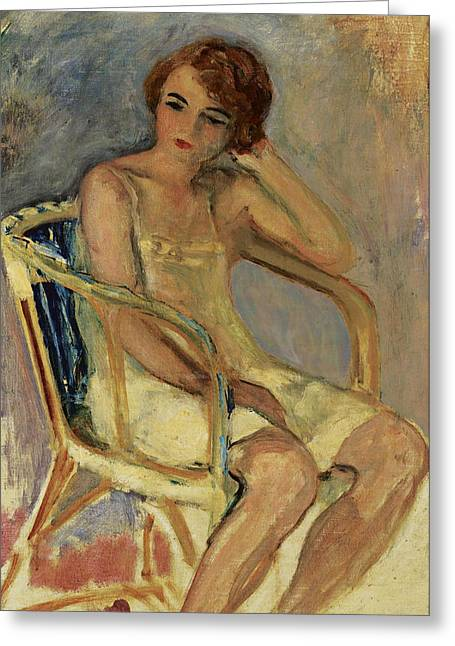 Young Woman In A Chair Greeting Card by Henri Lebasqe