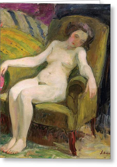 Young Woman In An Armchair Greeting Card by Henri Lebasqe