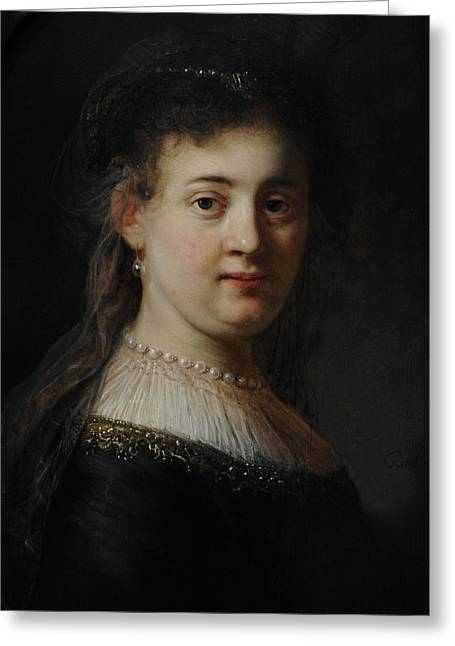 Young Woman In Fantasy Costume, 1633, By Rembrandt 1606-1669 Greeting Card by Bridgeman Images