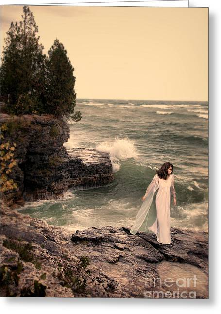 Young Woman In Nightdress By The Sea Greeting Card by Jill Battaglia