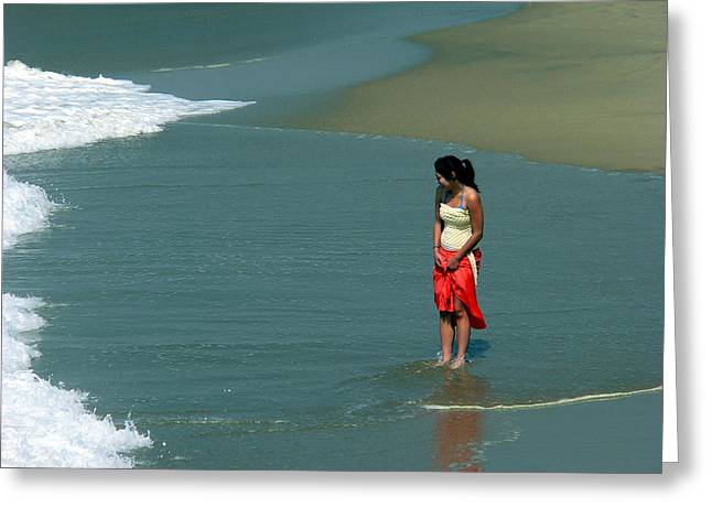 Young Woman Playing In The Surf Greeting Card by Jeff Lowe