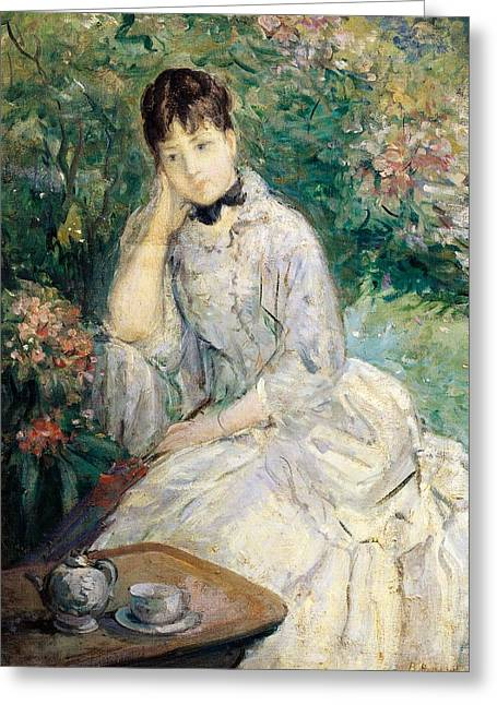 Young Woman Seated On A Sofa Greeting Card