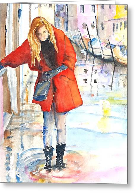 Young Woman Walking Along Venice Italy Canal Greeting Card by Carlin Blahnik