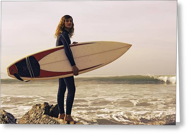Young Woman With Her Surfboard At The Greeting Card by Ben Welsh