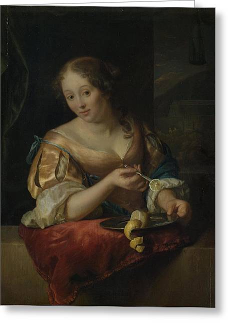 Young Woman With Lemon, Godfried Schalcken Greeting Card