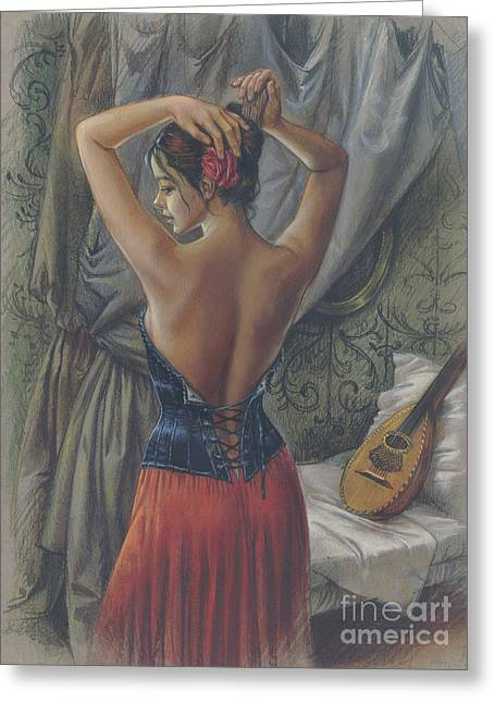 Young Woman With Luth Greeting Card by Zorina Baldescu