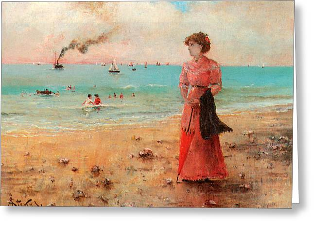 Young Woman With Red Umbrella Greeting Card by Alfred Stevens