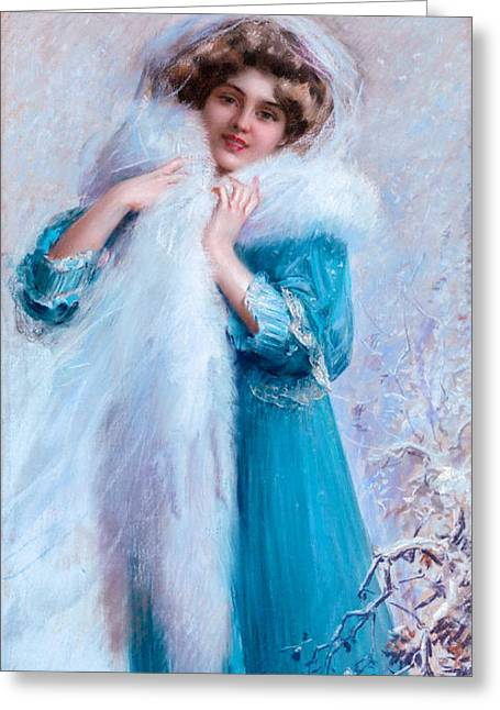 Young Woman With White Fur Boa Greeting Card