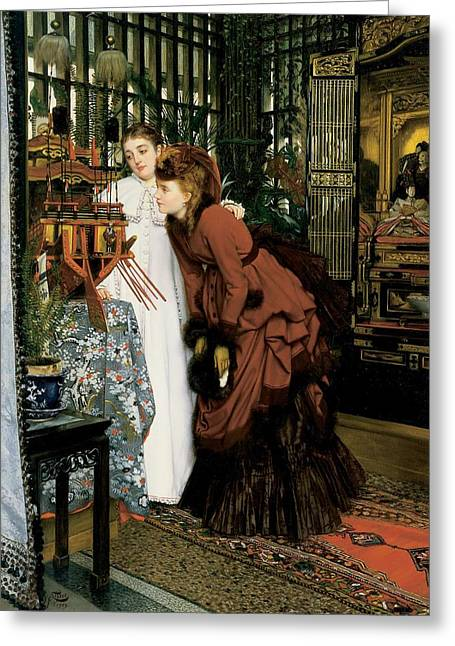 Young Women Looking At Japanese Articles, 1869 Oil On Canvas Greeting Card by James Jacques Joseph Tissot