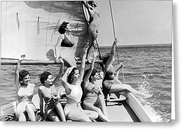 Young Women On A Sailboat. Greeting Card by Underwood Archives