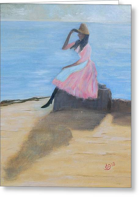 Young Women On The Beach Greeting Card