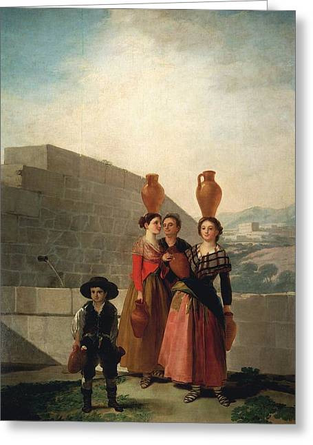 Young Women With Pitchers Greeting Card