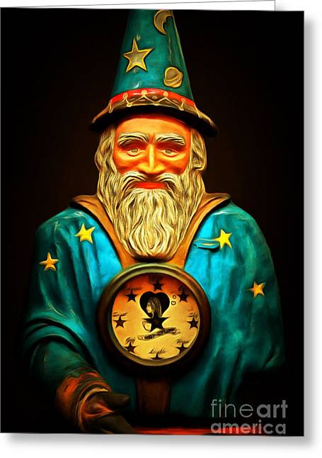 Your Fortune Be Told By The Wizard Fortune Telling Machine 7d144 Greeting Card by Wingsdomain Art and Photography