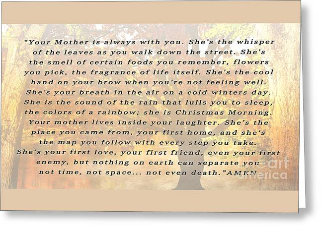 Your Mothers Whisper Greeting Card by Beverly Guilliams