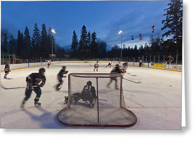 Youth Hockey Action At Woodland Park Greeting Card by Chuck Haney