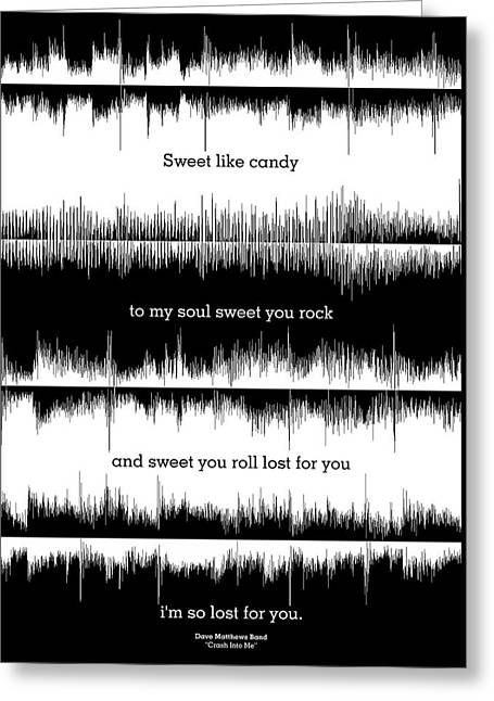 Lyrics Music Waveform Poster Greeting Card by Lab No 4 - The Quotography Department