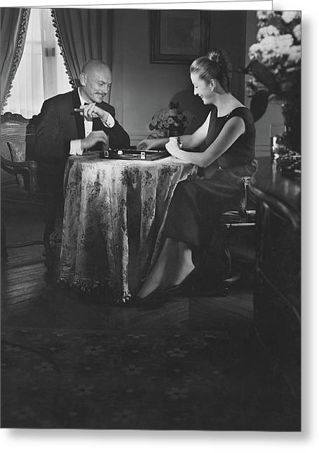 Yul Brynner Playing Backgammon With His Wife Greeting Card by Horst P. Horst